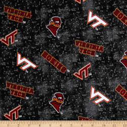 NCAA Virginia Tech Flannel Distressed Logo Red Fabric