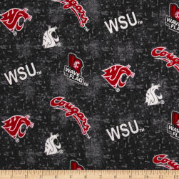 NCAA Washington State University Flannel Distressed Logo Red