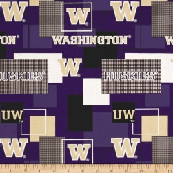 NCAA University of Washington Blocks Allover Blue/Yellow Fabric