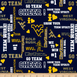 NCAA West Virginia Glitter Allover Fabric