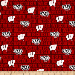 NCAA University of Wisconsin Distressed Allover Red Fabric