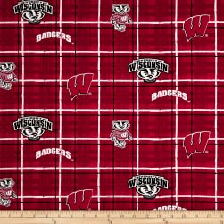 NCAA University of Wisconsin Plaid Prints Red Fabric