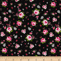 Stof Mini Marjorie Noir Rose Fabric