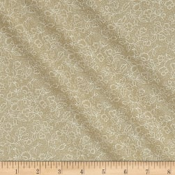 Classic Tone on Tone Floral White/Tea Stain Fabric