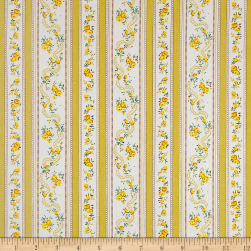 Dolphin Floral Stripe Yellow Fabric