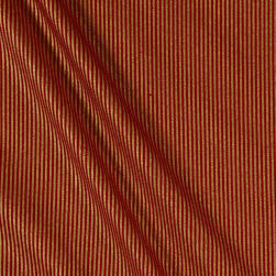 Christmas Jewels Stripes Metallic Gold/Red Fabric
