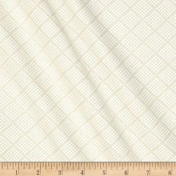Tone on Tone Dotted Squares White/Tan Fabric