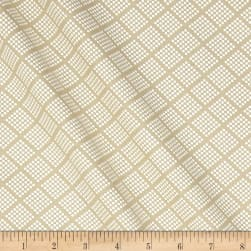 Tone on Tone Dotted Squares White/Teastain Fabric