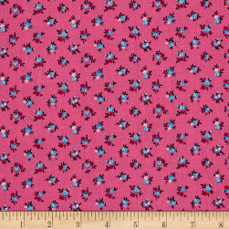 New Country Calicos Flowers Fuchsia/Blue Fabric
