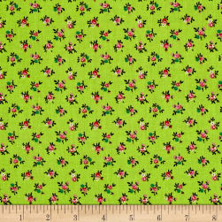 New Country Calicos Flowers Lime/Pink Fabric