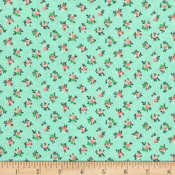 New Country Calicos Flowers Mint Fabric