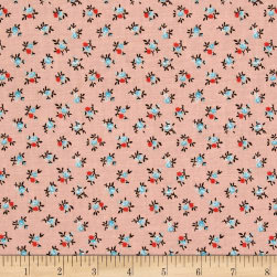 New Country Calicos Flowers Soft Coral Fabric