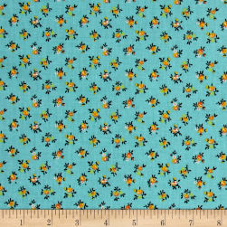New Country Calicos Flowers Turquoise/Orange Fabric