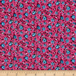 New Country Calicos Floral Fuchsia/Blue Fabric