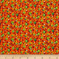 New Country Calicos Floral Orange/Lime Fabric