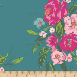 Art Gallery Extempore Gala Rayon Challis Teal Fabric