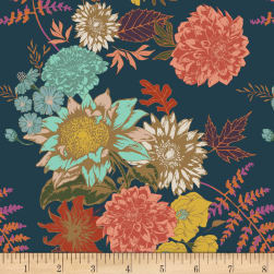 Art Gallery Autumn Vibes Stretch Jersey Knit Floral Glow Twilit Midnight Blue Fabric