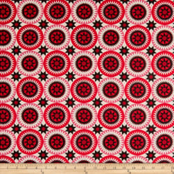 """108"""" Wide Traditional Quilts Circles Red/Cream Fabric"""