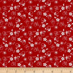 The Red and Black Basics Flowers Red/White Fabric