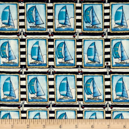 Clear Sailing Sailboats Allover Blue Fabric