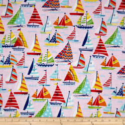 Clear Sailing Sailboats Allover Pink Multi Fabric