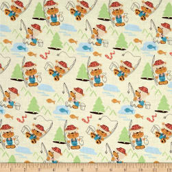 Kid's Choice Bears Fishing Cream Fabric
