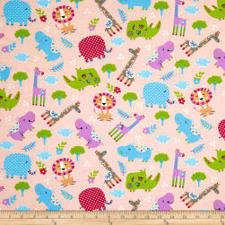 Kid's Choice Animals Allover Pink Fabric