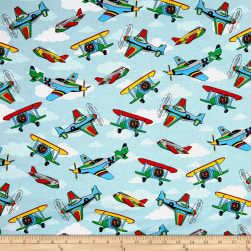 Kid's Choice Airplanes Allover Blue Multi Fabric