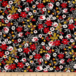 Botanical Garden Floral Black Red Fabric