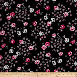Botanical Garden Floral Black Pink Fabric