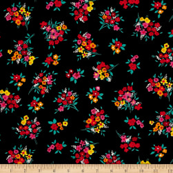 Botanical Garden Floral Black Fabric