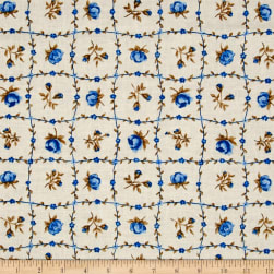 Botanical Garden Floral Blue Fabric