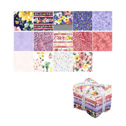 Fat Quarter Pack x 6 Batik Cotton Quilting Craft Fabric Bundles Purple Berries