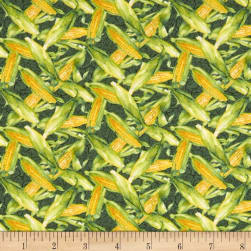 Farmers Market Tossed Corn Dark Green Fabric