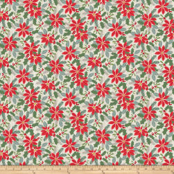 Swedish Christmas Tossed Poinsettias Light Grey