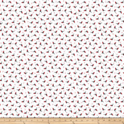 Polar Hugs Tossed Birds White Fabric