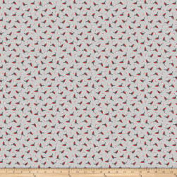 Polar Hugs Tossed Birds Grey Fabric