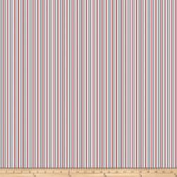 Polar Hugs Stripes White Fabric