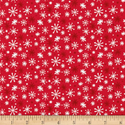 Yeti For Winter Snowflakes Flannel Red Fabric