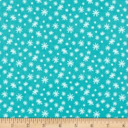 Yeti For Winter Snowflakes Flannel Dark Turquoise Fabric