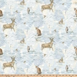 Enchanted Forest Animals Allover Pale Blue Fabric