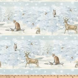 Enchanted Forest Animals Stripe Pale Blue Fabric