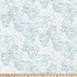 Enchanted Forest Trees & Snowflakes Pale Blue Fabric