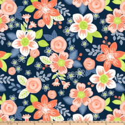 Winter Fleece Floral Navy Fabric