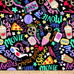 Winter Fleece Movie Night Black Fabric