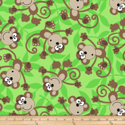 Winter Fleece Monkeys Green Fabric