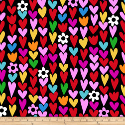 Winter Fleece Hearts Black Fabric
