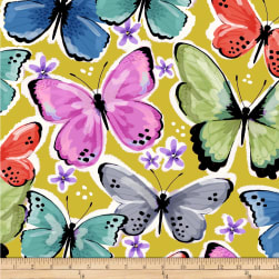 Winter Fleece Butterflies Mustard Fabric