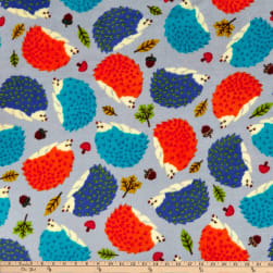 Winter Fleece Hedgehogs Grey Fabric