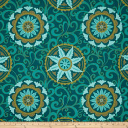 Terrasol Indoor/Outdoor Whirlwind Canvas Peacock Fabric